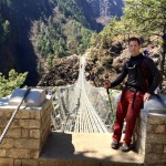 Roderick Russell about to cross the Hillary Suspension Bridge.